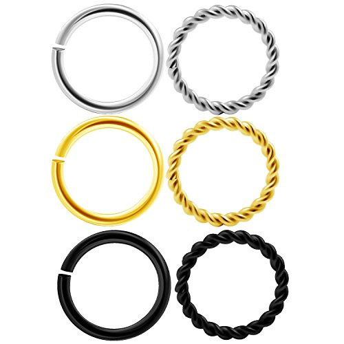 6pcs PVD plated surgical steel seamless ring 16g (1.2mm) with a twisted wire design Nose Hoop Rings Septum Cartilage COCA 8M