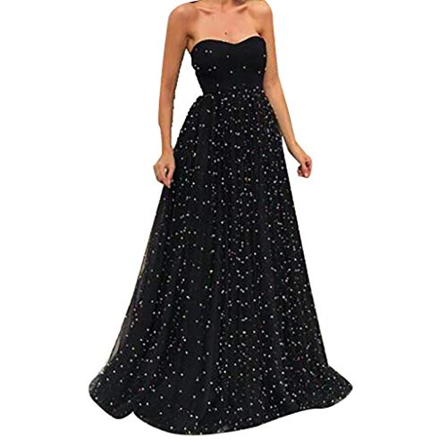 (Sexy Strapless Maxi Dress for Women, Huazi2 Elegant Solid Beading Mesh Long Party Gown Dress Black)