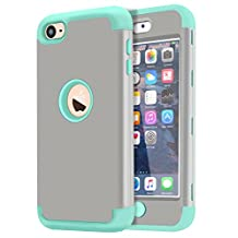 Dailylux iPod Touch 5 Case,iPod Touch 6 Case 3in1 Hybrid Full Body Impact Resistant Shockproof PC Silicone Protective Cover for iPod Touch 5th 6th Generation-Grey+Wint Green