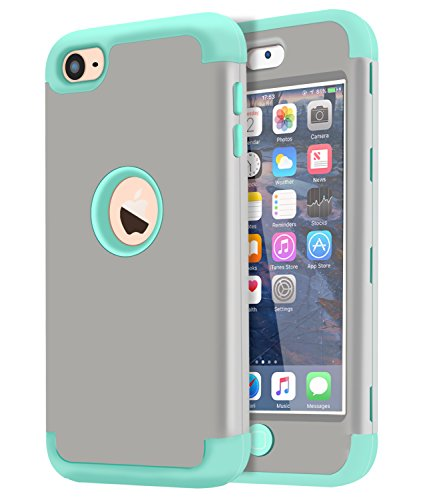 Ipod Touch Green (Dailylux iPod Touch 5 Case,iPod Touch 6 Case,3in1 Hybrid Impact Resistant Shockproof Hard Case with Soft Silicone Protective Cover for Apple iPod Touch 5th 6th Generation Girls/Boys-Grey+Wint Green)