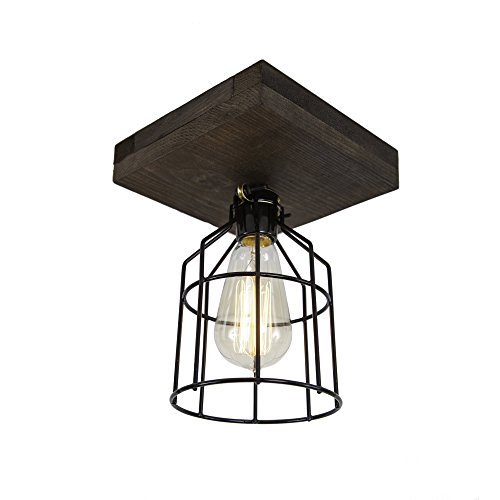 West Ninth Vintage Flushed Mount Wood Single Ceiling Farmhouse Fixture | w/ Metal Cage Lights