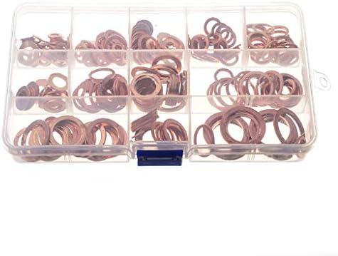280 PCS Copper Washers Set Flat Ring Sump Plug Gaskets M5 M6 M8 M10 M12 M14 M16 M18 M20 Oil Drain Plug Gasket Assortment Kit