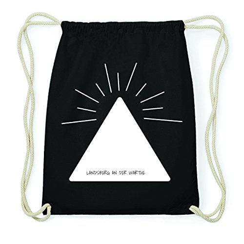 JOllify LANDSBERG AN DER WARTHE Hipster Turnbeutel Tasche Rucksack aus Baumwolle - Farbe: schwarz Design: Pyramide