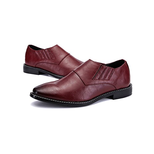 Ronde Mode Cuir Tête LYZGF Business En Coiffeur Casual Jeunes Hommes Red Chaussures OvfFqFSI0W