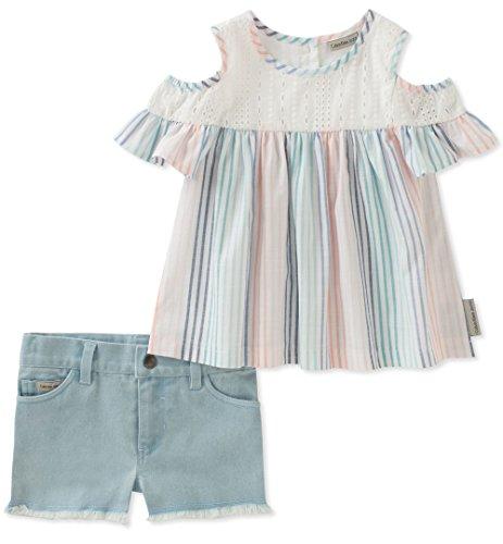 Calvin Klein Little Girls' Shorts Set, Stripes/Light Wash Blue, 5