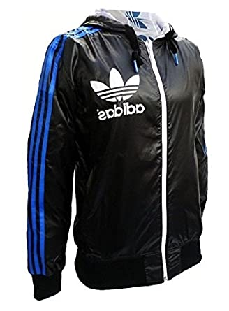 bf1c362561e2 adidas Originals Mens Black White Linear Reversible Wind Breaker Hooded Track  Jacket (Medium)