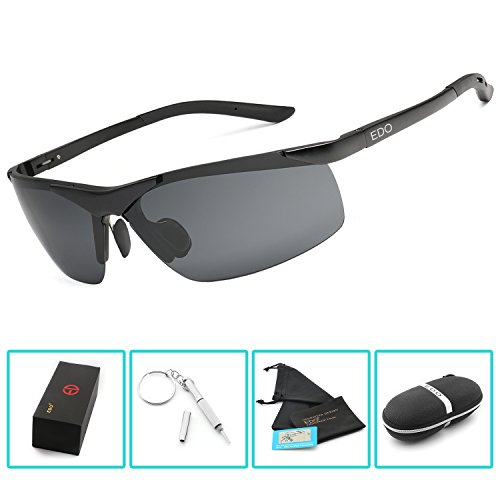 EDO Men's Sports Style Polarized Sunglasses for Driving Fishing Cycling Golf Glasses Unbreakable Al-Mg Metal - Best Fishing Saltwater Sunglasses