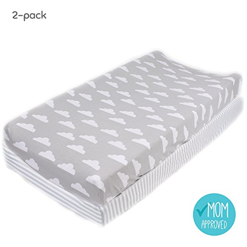 "Cotton Diaper Changing Pad Cover 2 Pack ""Stripes & Clouds"" by Mumby"