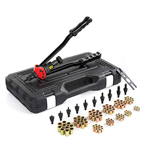 "16""Hand Rivet Nut Tool, Professional Rivet Nut Setter Kit with 11PCS Metric & Inch Mandrels,110PCS Rivet Nuts, Sturdy Plastic Case for Protection and Organized Storage"