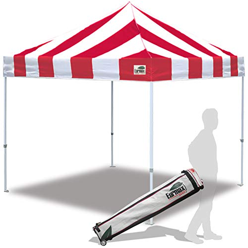 (Eurmax Ez Pop Up Canopy 10x10 Commercial Tent Instant Gazebo with Roller Carrying Bag, Stripe Red/White)