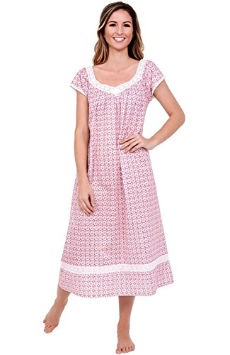 Alexander Del Rossa Womens Adele Cotton Nightgown, Long Victorian Sleepwear, Large Pink Floral Print (A0528P88LG)