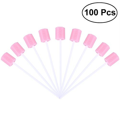 ROSENICE Disposable Oral Care Sponge Swab Tooth Cleaning Mouth Swabs 100pcs - Foam Oral Swabs Toothette