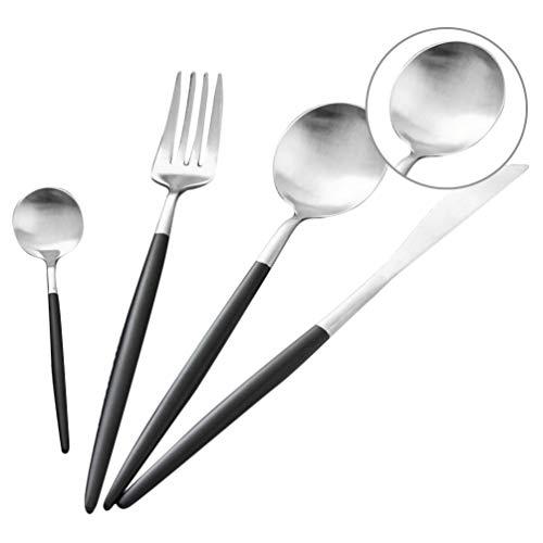 4 Piece Cutlery Set, Stainless Steel Flatware Silverware Set with Knife Spoon Fork, Mirror Polish & Dishwasher Safe