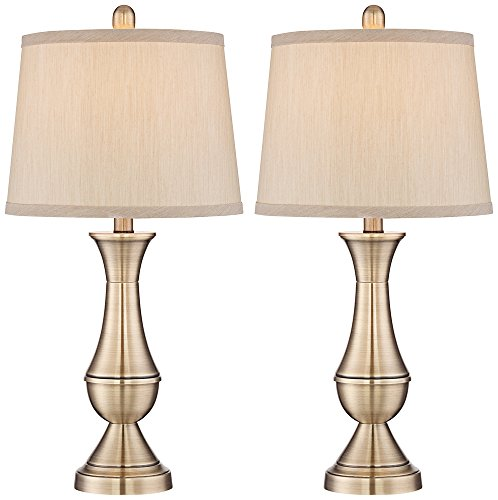 Becky Antique Brass Metal Table Lamp Set of 2 - Antique Drum Table