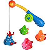 Bath Toy Fishing Game with Cute Spotted Fishes 4 pcs and Fishing Rod Bath Time Fun Best Gift for Toddlers Boys Girls Kids Children(Color Vary)