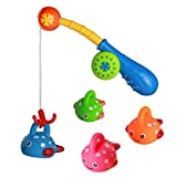 Bags Under Eyes 18 Years Old Fajiabao Bath Toy Fishing Game with 4 Cute Floating Fishes 1 Fishing Rod Ideal Gift for Kids Girls Boys(Color Vary)