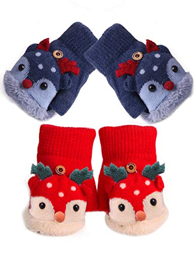 2 Pairs Toddler Girls Winter Thermal Gloves with Flip Top for Cold Weather Gift (Navy Blue + Red) ()