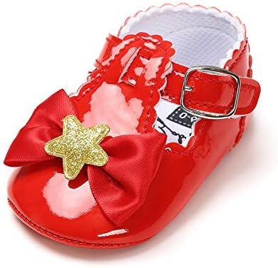 Isbasic Baby Girl Bows Mary Jane Flats Ni ntilde;o peque ntilde;o Suela suave antideslizante Princesa Bautismo Cuna Vestido Zapatos de ballet