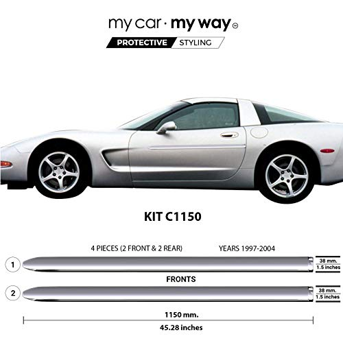 MY CAR MY WAY (Fits) Chevrolet Corvette 1997-2004 Chrome Body Side Molding Cover Trim Door Protector