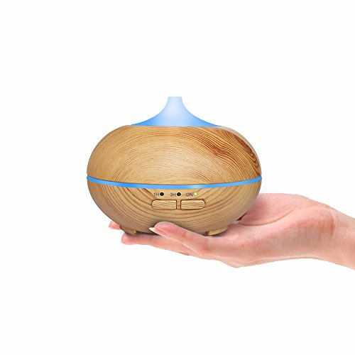 Bbymie mini size Aroma Essential Oil Diffuser, 150ml Wood Grain Ultrasonic Cool Mist Whisper-Quiet Humidifier with Color LED Lights Changing & 4 Timer Settings&easy to carry(150ml pale)