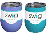 Occasionally Made O-SW-12-BK Swig Wine Cup, 12 oz (Hydrangea & Ocean)