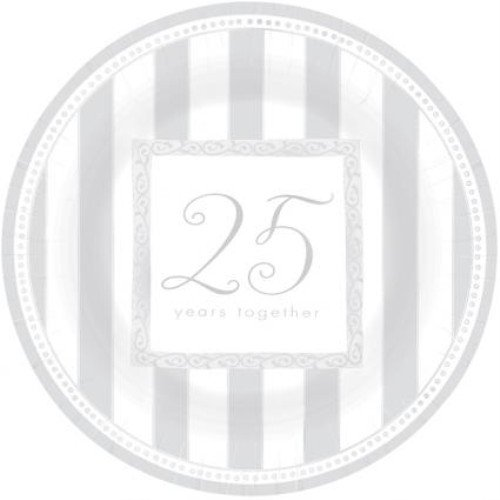 Plates 26.6cm Metallic Silver Anniversary for Disposable Party Tableware 599095AMS-25ann-8