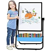 Kids Easel Board , Double-Sided Height Adjustable & 360°Rotating Stand Art Easel for Kids(Black & Pink) (black)