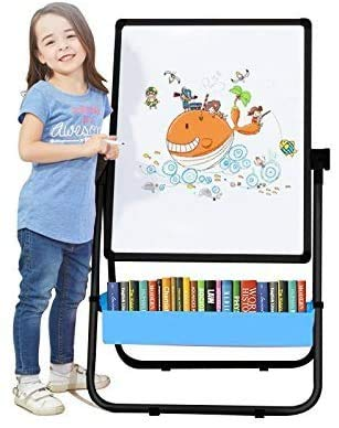 Arkmiido Kids Double-Sided Height Adjustable & 360° Rotating Drawing Black and White Board