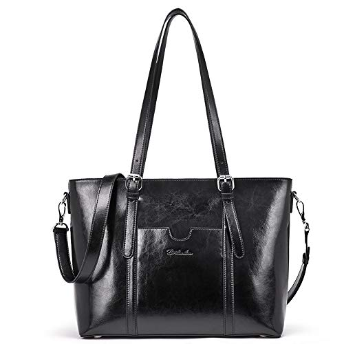 BOSTANTEN Women Leather Laptop Shoulder Handbag Vintage Briefcase 15'' Computer Work Tote Bag Black by BOSTANTEN (Image #8)