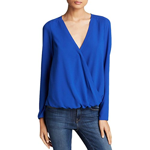 Cooper & Ella Womens Alyssa Embellished Surplice Wrap Top Blue XS