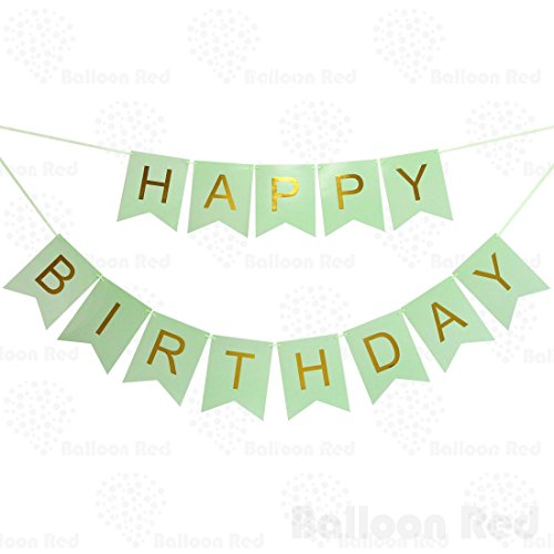 Happy Birthday Garland Bunting Banner for Party Wall Stylish Decorations, Mint Green Bunting with Golden Letters