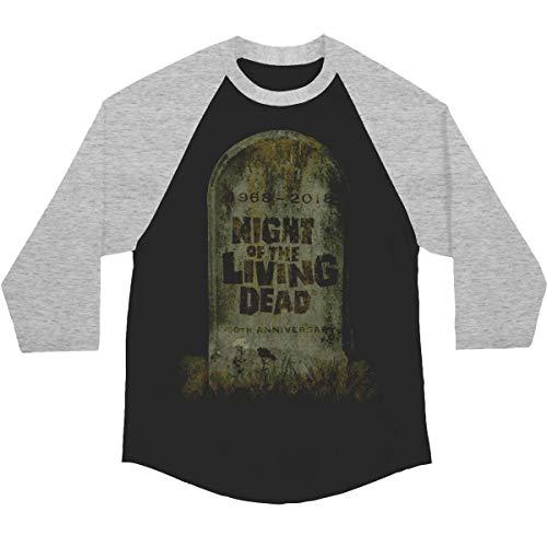 Night of the Living Dead Men's 50th Anniversary Logo Ltd. Ed. Baseball Jersey Large Black/Gray