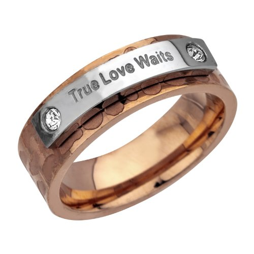 INOX Rose Gold Colored PVD Stainless Steel Ring W/