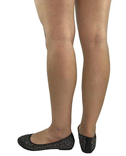 Pour Toujours La Collecte Des Femmes Strass Cristal Baller À Balles Plates Glisser Sur Des Chaussures De Paillettes Strass Noir