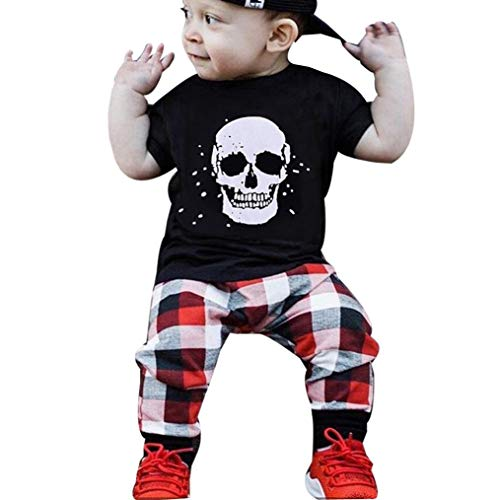 (Drindf Boys Clothing Newborn Baby Boy Girl Clothes Skull Print Tops Cute Onesie Plaid Pants (6-12 Months, Black) )