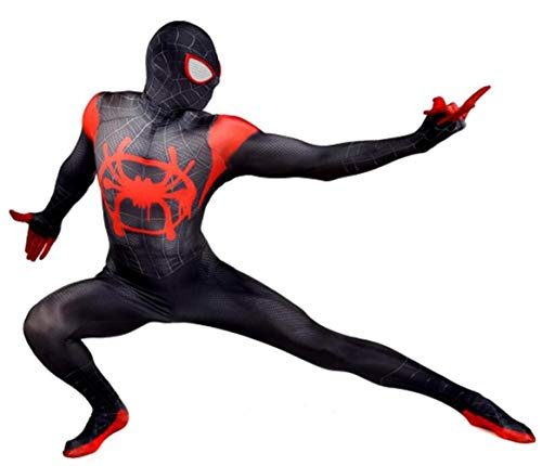 Cosplay Bodysuit Unisex Lycra Spandex Halloween New into The Spider Verse Miles Morales Cosplay Costumes Adult/Kids 3D Style Black, Kids-XL(Height 140-150cm)]()