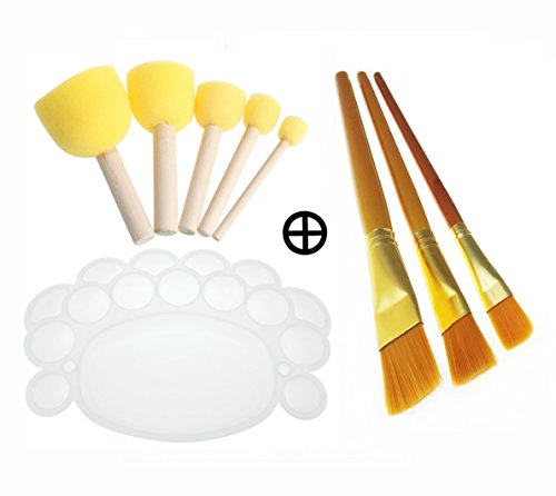 Kids Foam Sponge Wood Handle Paint Brush & Pointed Tip Nylon Hair artist acrylic brush & white Plastic palette tray complete Paint Tools for Watercolor Oil (Paint Circle)