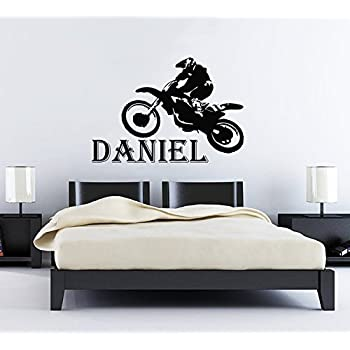 Wall Decals Custom Name Personalized Boys Name Jump Bike Motocross  Motorcycle Moto Freestyle Jumping Extreme Sports Part 41