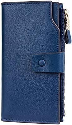 Navy Women/'s RFID Blocking Wallet Genuine Leather Luxury Clutch Card Holder