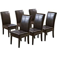 Percival T-stitched Chocolate Brown Leather Dining Chairs (6)
