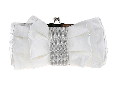 Blanc clutch mode de main Sac Luckywe pour élégant Femme en enveloppe soie Diamant Fleurs bow à wACqCU0Z