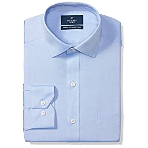 Amazon Brand – Buttoned Down Men's Tailored-Fit Spread Collar Pinpoint Non-Iron Dress Shirt, Blue, 17.5″ Neck 35″ Sleeve