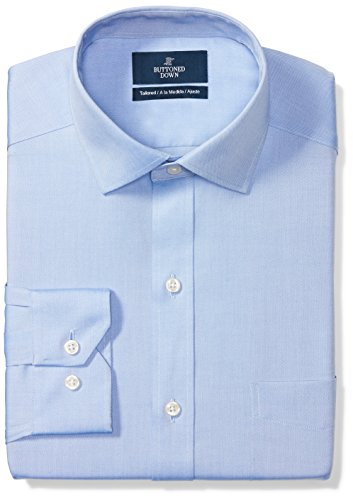 BUTTONED DOWN Men's Tailored Fit Spread-Collar Solid Non-Iron Dress Shirt (Pocket), Blue, 17