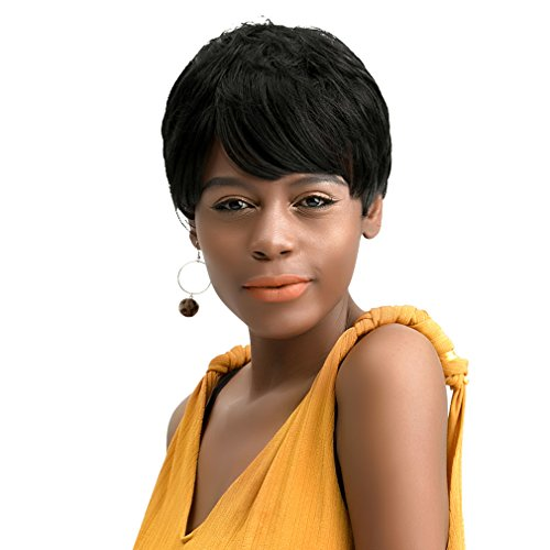 REECHO Synthetic Short Wig Fluffy Natural Wavy Boy Cut Full Hair with Short Side Bangs Heat Resistant Wig for Black Women Color Natural Black