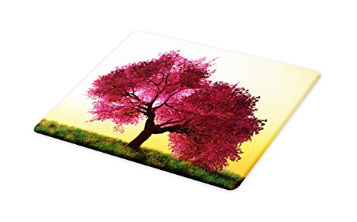Lunarable Japanese Cutting Board, Mystic Majestic Pink Cherry Blossom Tree Floral Leaves Asian Nature in Golden Sun, Decorative Tempered Glass Cutting and Serving Board, Small Size, Pink Yellow