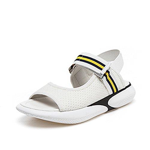 [HR株式会社] 厚底サンダル レディース 歩きやすい スポーツサンダル ストライプ オープントゥ ファッションサンダル 厚底靴  ヒール  約4cm マジックテープ  美脚 おしゃれ 身長UP
