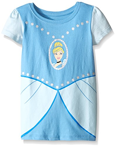 2t Cinderella Costume (Disney Toddler Girls Cinderella Short Sleeve Costume T-Shirt, Light Blue, 2T)
