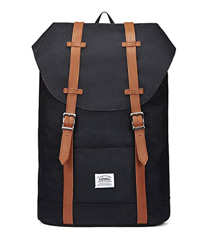 "Price comparison product image Lightweight Outdoor Travel Backpack Casual Hiking&Camping Rucksack School Daypack Laptop Backpack for 15"" Laptop & Tablets by KAUKKO(NYLON-BLACK)"