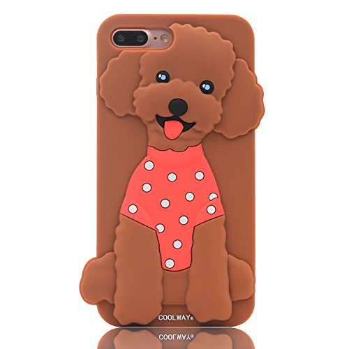 iPhone 7 Plus Case, MC Fashion Cute 3D Toy Poodle Puppy Dog Animals Protective Soft Silicone Case Skin for Apple iPhone 7 Plus (2016) and iPhone 8 Plus (2017) (Puppy/Brown)