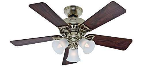 Hunter Beacon Hill 42 in Antique Brass Downrod or Close Mount Indoor Ceiling Fan by Hunter Fan Company